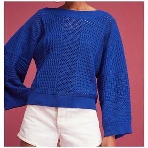 Anthro Moth Cobalt Blue Kimono Sleeve Sweater